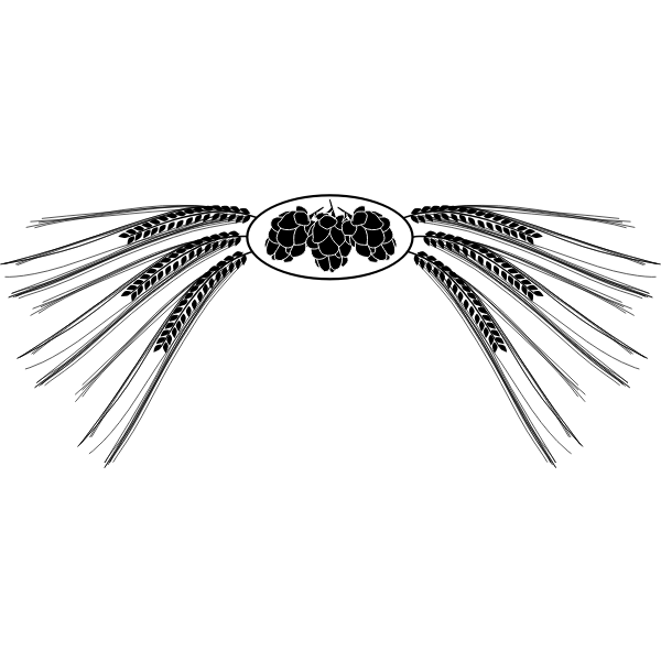 Vector image of black and white hops and barley