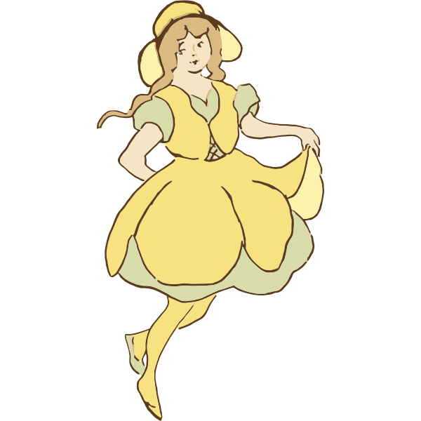 Vector clip art of gracious girl dancing