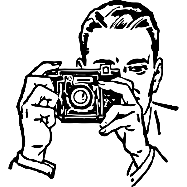 Vector image of man with camera