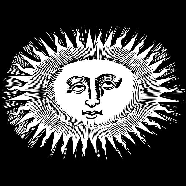 Oval-shaped sun vector illustration