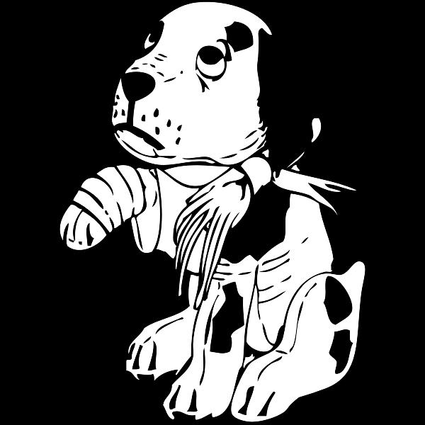 Sad dog with a broken leg vector illustration