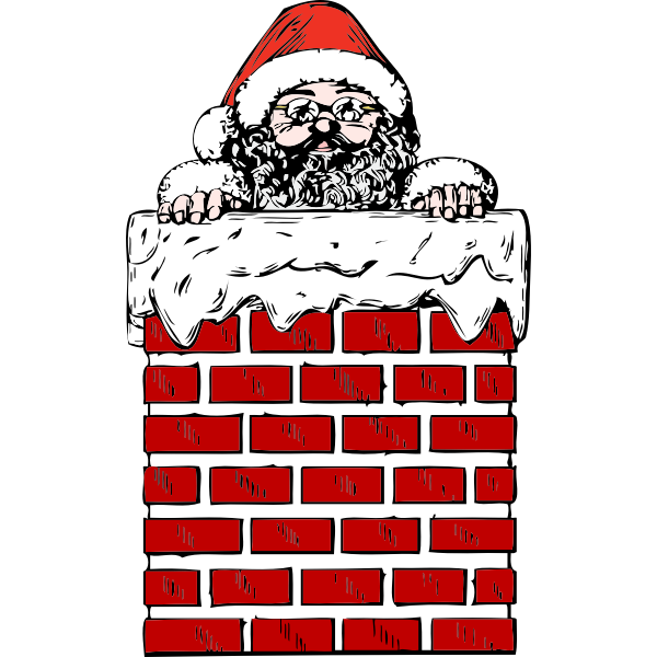 Santa in a chimney vector