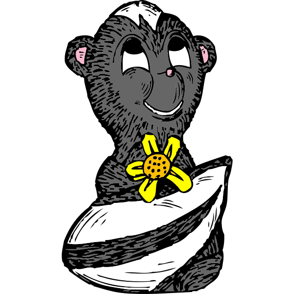 Skunk with a flower vector