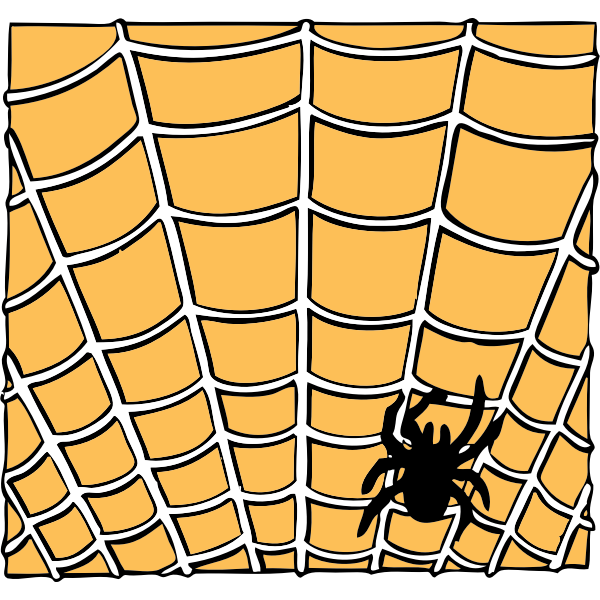 Vector drawing of spider on a spider web
