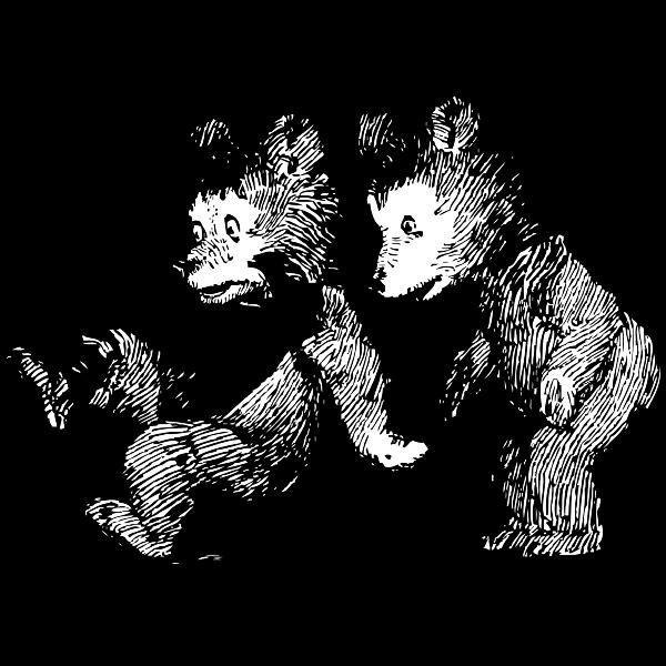 Vector image of startled bears