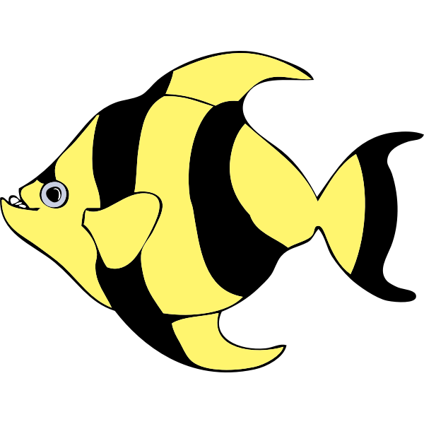 Yellow and black striped fish vector drawing