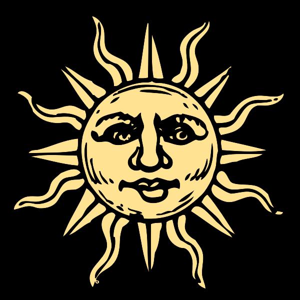 Old woodcut sun vector image