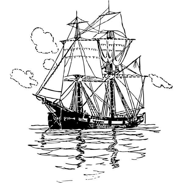 Snow brig ship vector image