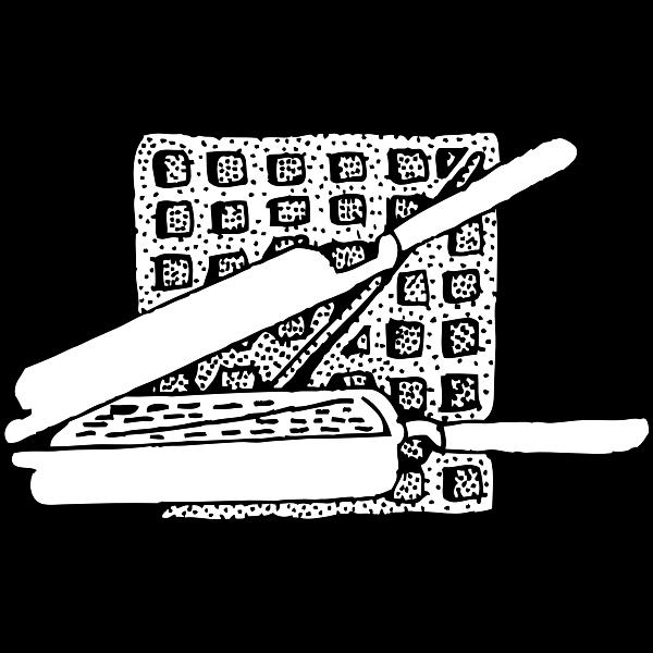 Waffle iron and waffle vector image