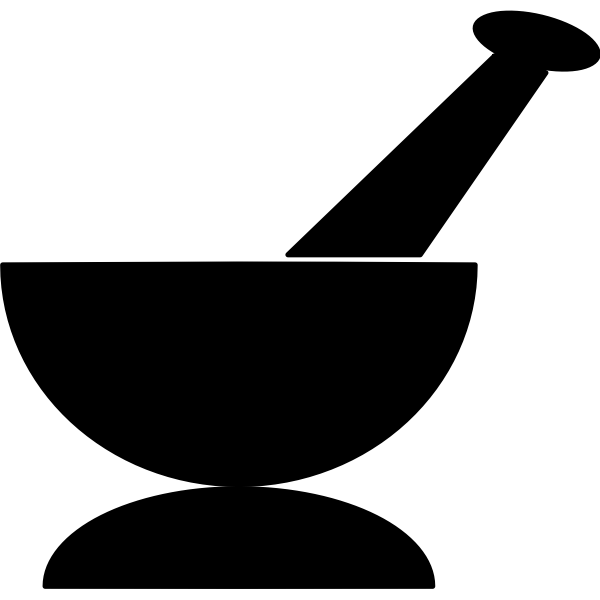 Black mortar and pestle