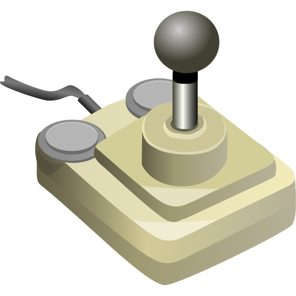Beige and gray video game joystick vector illustration