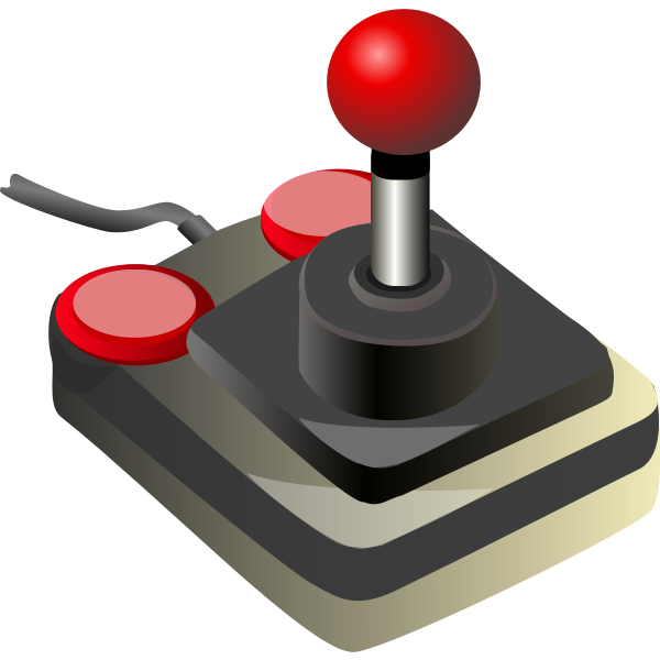 Color video game joystick vector clip art