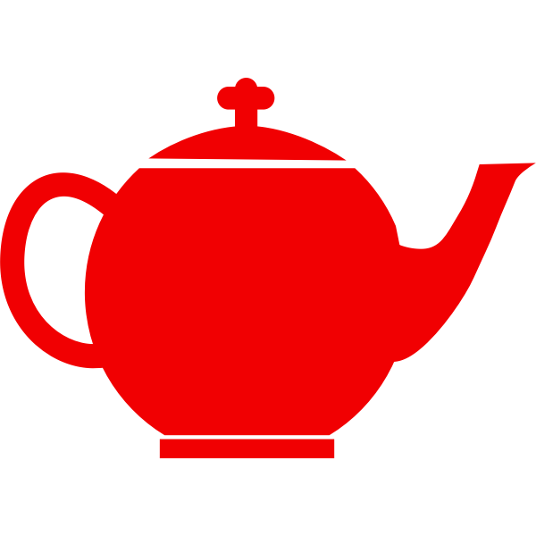 Red silhouette vector clip art of tea pot