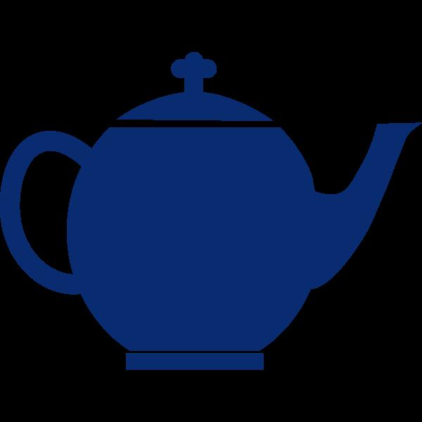 Blue silhouette vector image of tea pot