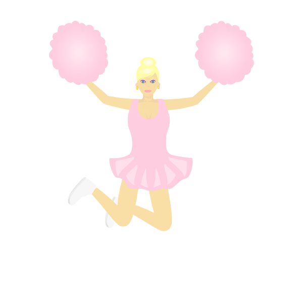 Vector illustration of dancing cheerleader girl