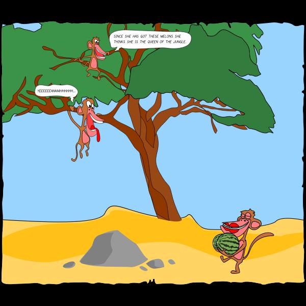 Monkeys in the desert vector clip art