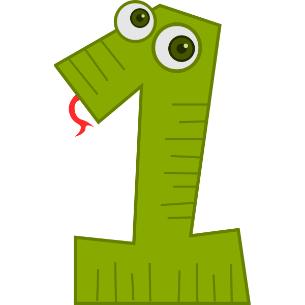 Snake number one vector clip art