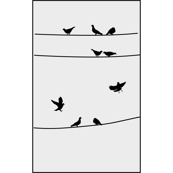 Pigeons on wires clip art