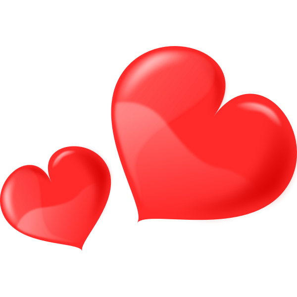 Vector drawing of two glossy hearts