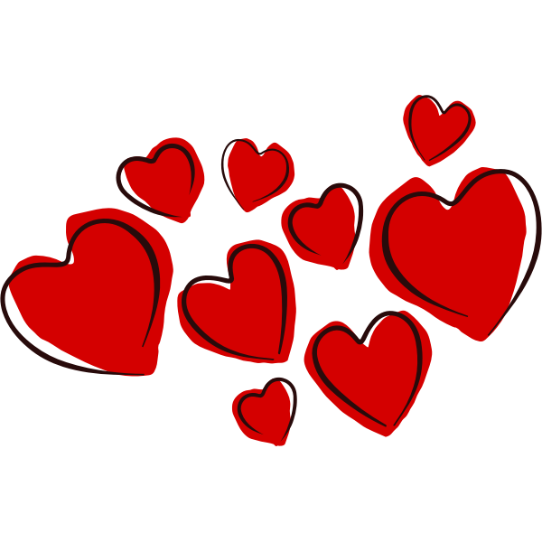 Vector drawing of hearts