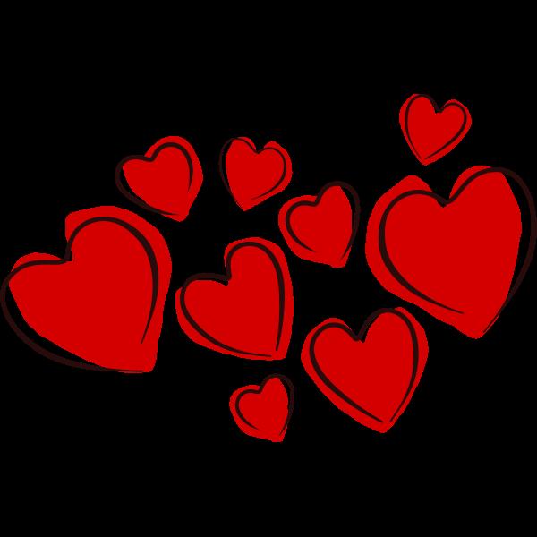 Vector drawing of hearts