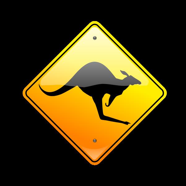 Kangaroo on road caution sign vector drawing