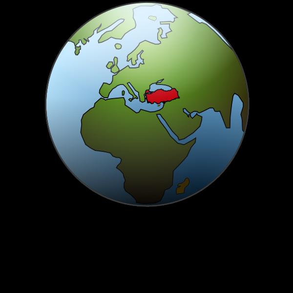 Turkey location on globe vector illustration