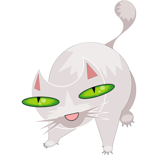 scary white cat