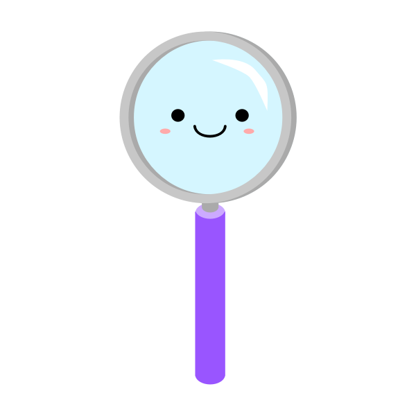 Smiling magnifying glass