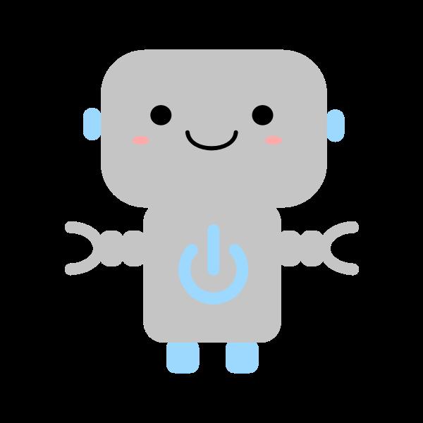 Kawaii robot with power symbol
