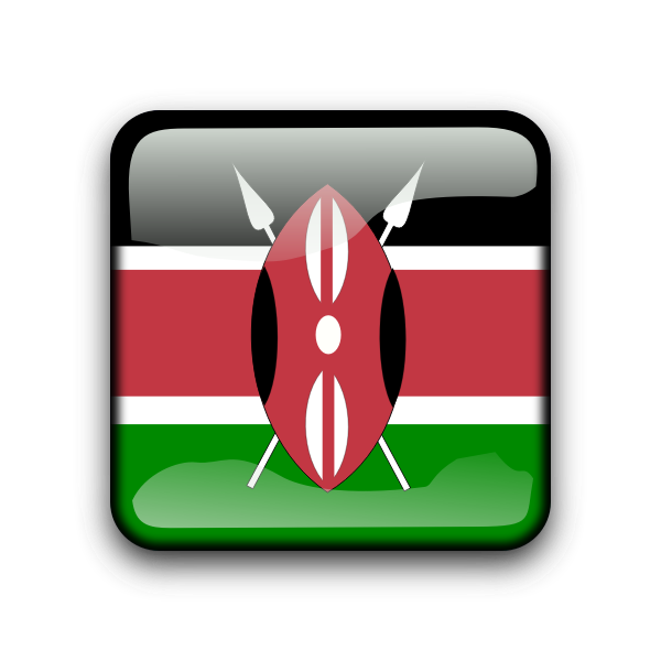 Kenyan vector flag button