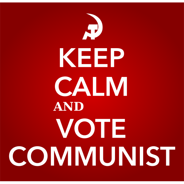 Keep calm and vote communist sign vector image