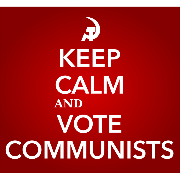 Keep calm and vote communists sign vector image