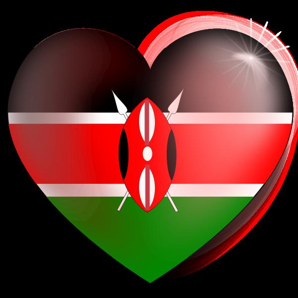 Kenyan flag heart vector image