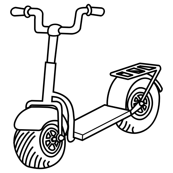 Line art vector image of kick scooter