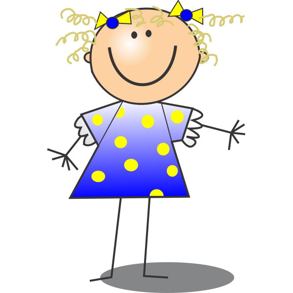 Vector drawing of smiling female stick figure