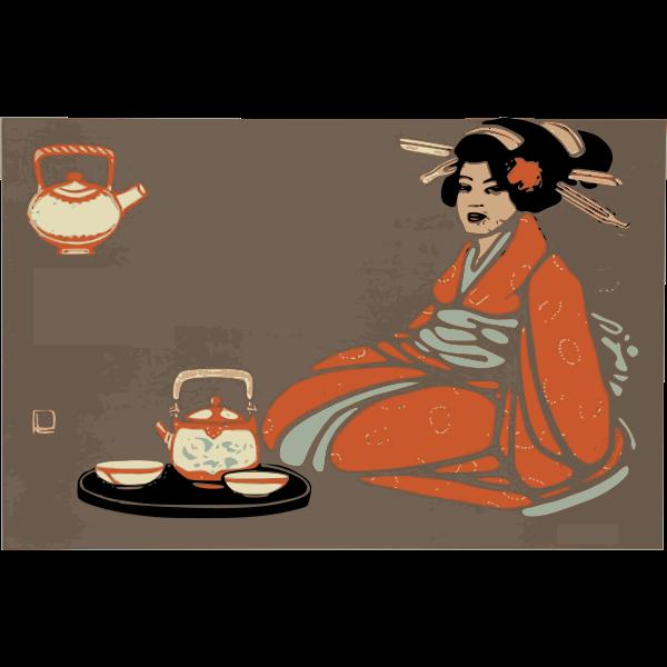kimono lady tea