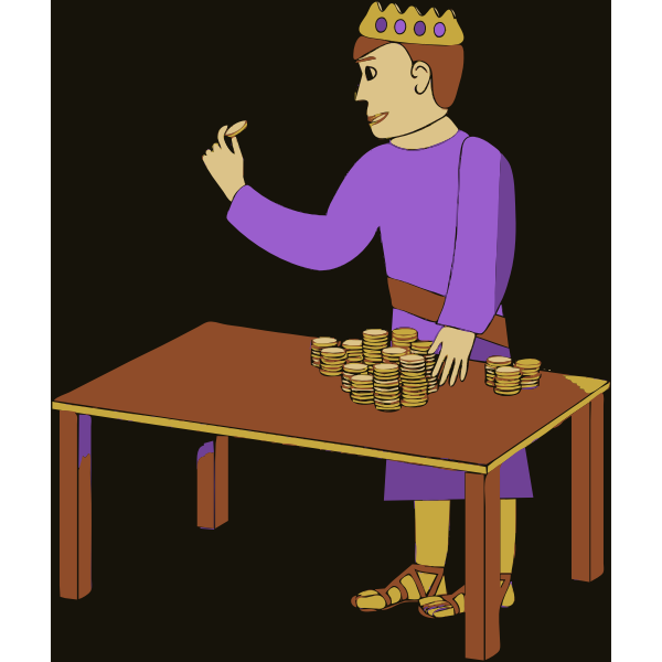 Vector drawing of king counting gold coins
