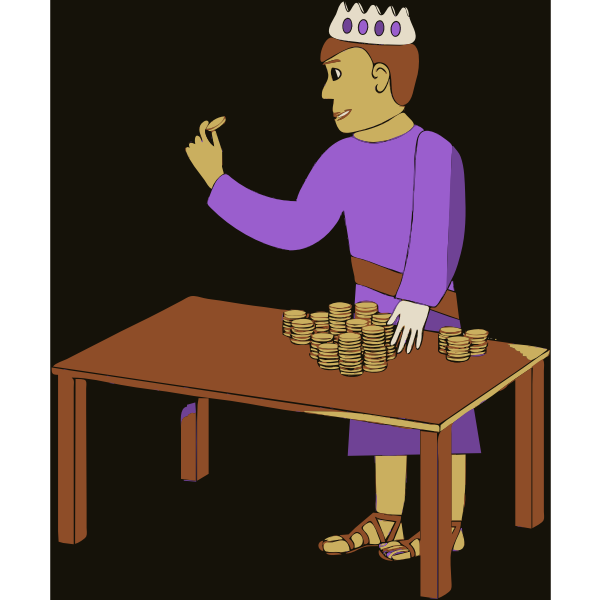 Vector illustration of king counting his money