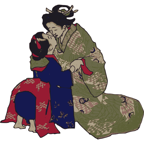 Embracing Geisha vector image