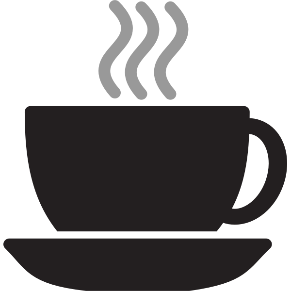 Vector drawing of steaming coffee or tea cup with saucer