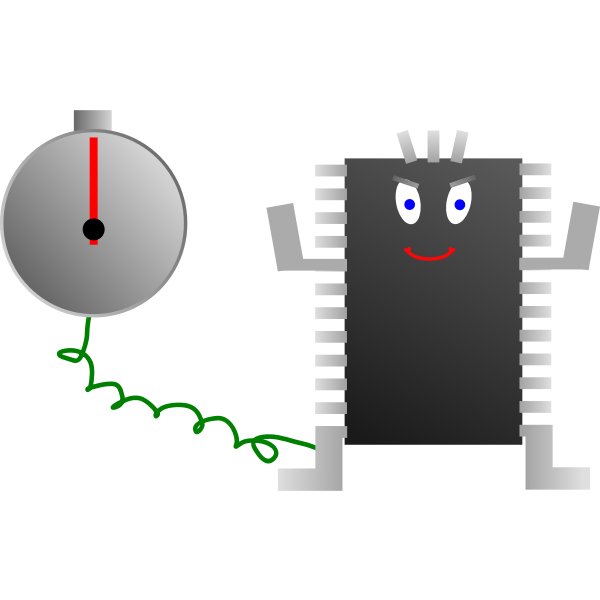 Computer processor clock vector image