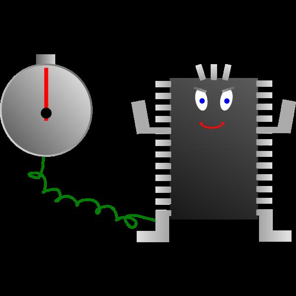 Computer processor clock vector image