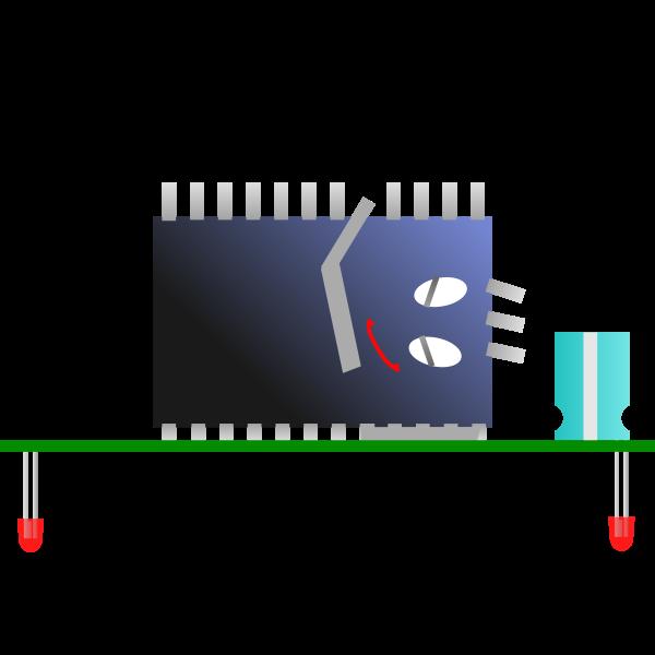 Computer processor sleeping vector drawing