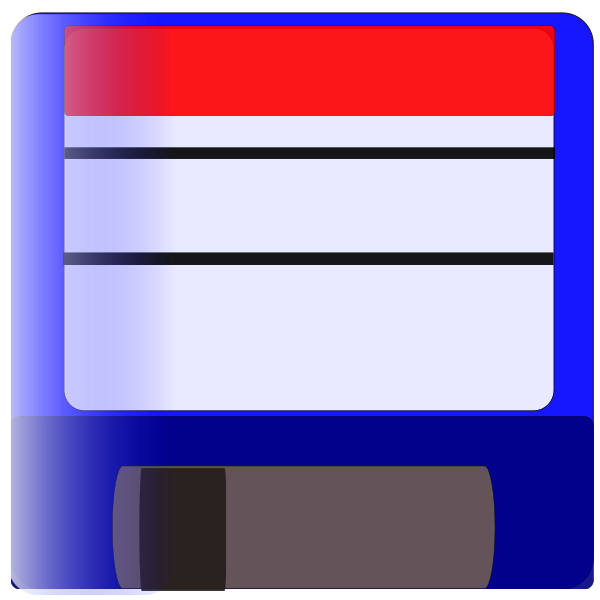 Vector image of a blue labelled floppy disk icon