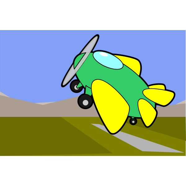 Cartoon vector graphics of ascending aircraft