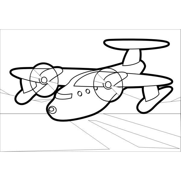 Outline vector drawing of propeller airplane