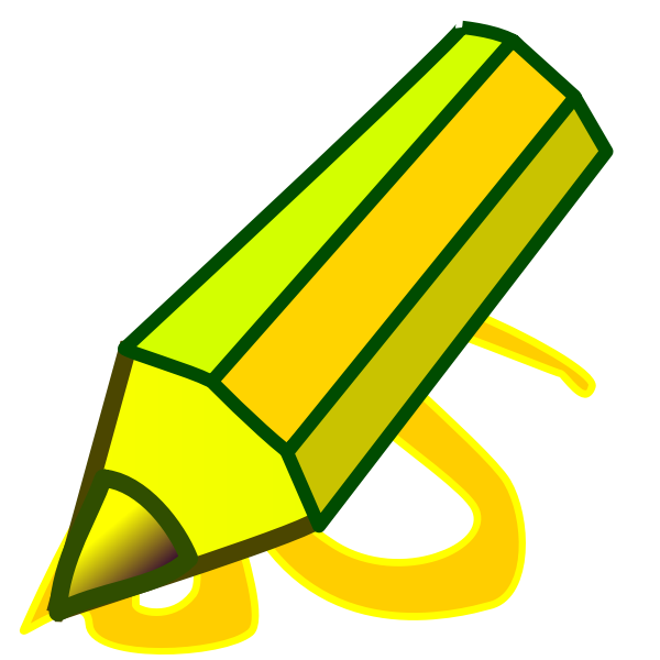 Graphics of thick green and yellow pencil