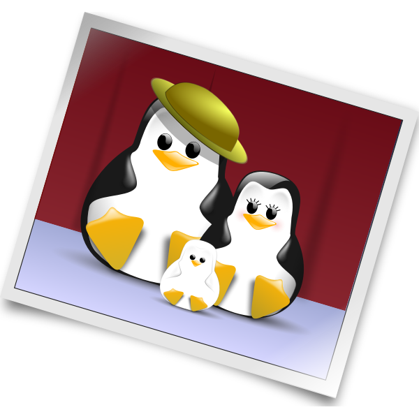 Penguin family photo vector illustration