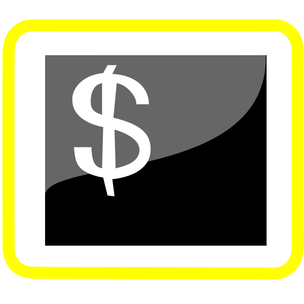 Vector clip art of money pictogram with yellow frame